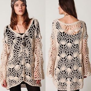 Free People brown boxy crochet sweater